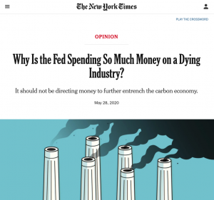 """New York Times: """"Why Is the Fed Spending So Much Money on a Dying Industry?"""" by Sarah Bloom Raskin"""