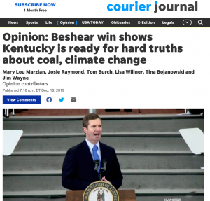 """Louisville Courier-Journal: """"Beshear win shows Kentucky is ready for hard truths about coal, climate change"""" by Kentucky Reps. Mary Lou Marzian, Josie Raymond, Tom Burch, Lisa Willner, Tina Bojanowski and Jim Wayne"""